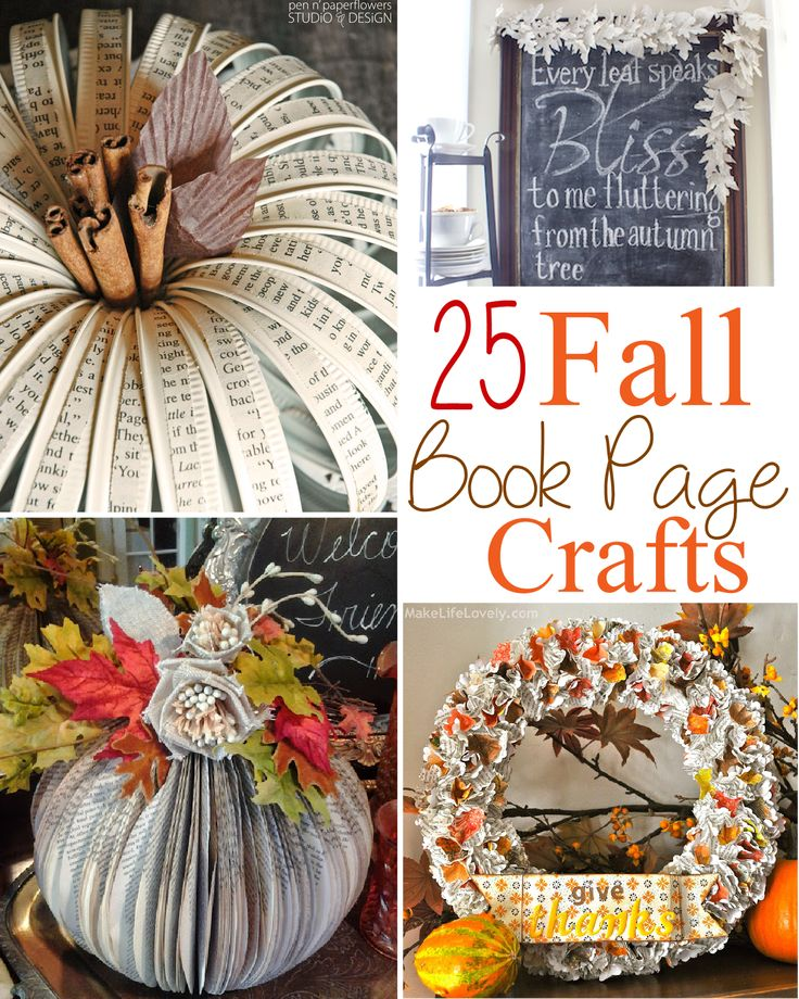 25 Fall Book Page Crafts: