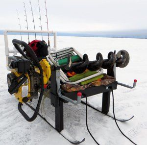 Ice Fishing Sled Auger Mount Rod Rack