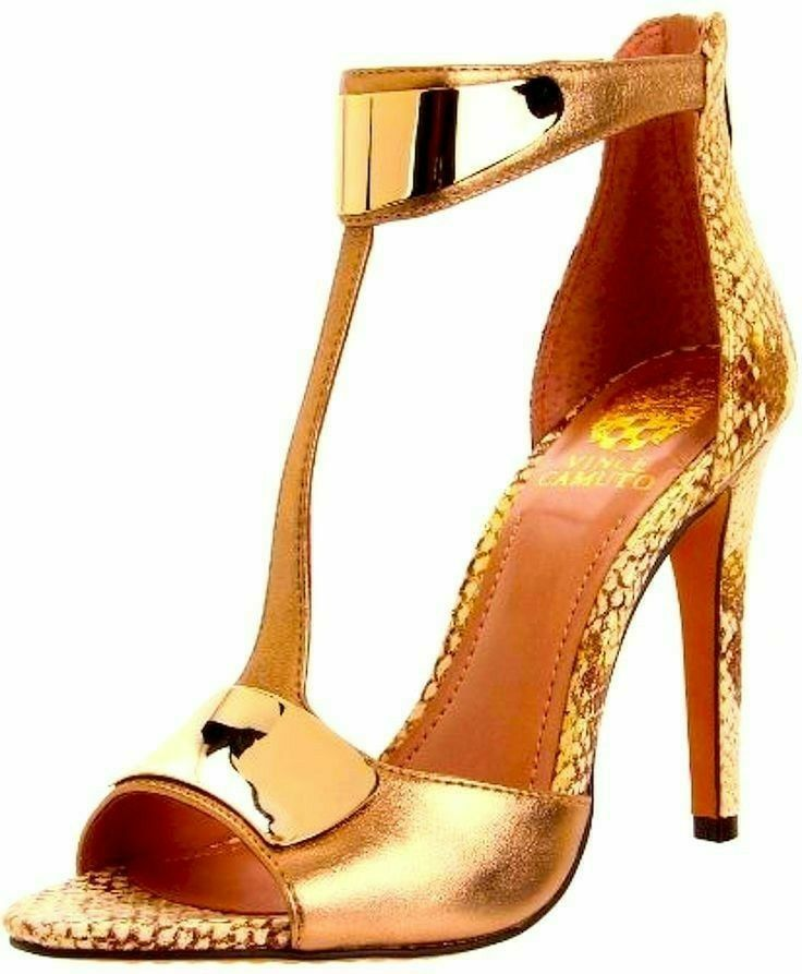 Gold heels with gold metal accents