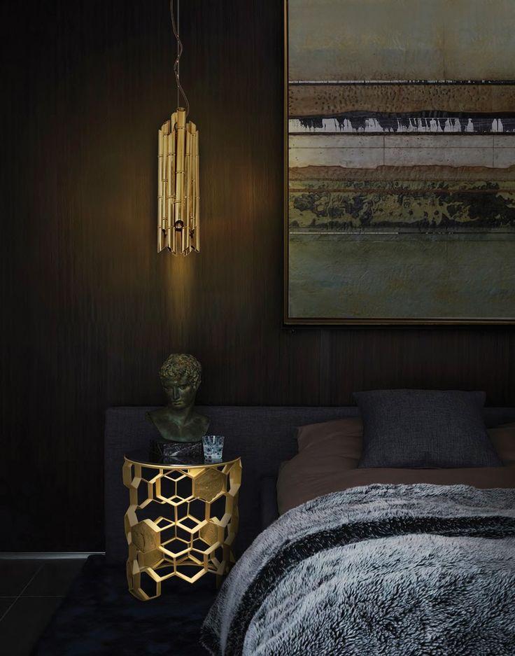 10 Luxus-Möbel zu einem modernen Frühling Schlafzimmer Design   MANUKA gold Nachttisch von Brabbu. SAKI gold Wandleuchter auch von Brabbu.   www.bocadolobo.com