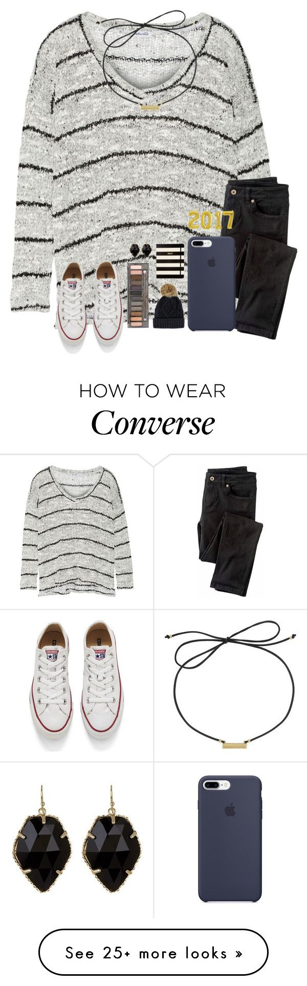 """Hey there 2017, please treat me well :)"" by kari-luvs-u-2 on Polyvore featuring Splendid, Wrap, Converse, Urban Decay, Laundry by Shelli Segal, Kate Spade and Kendra Scott"