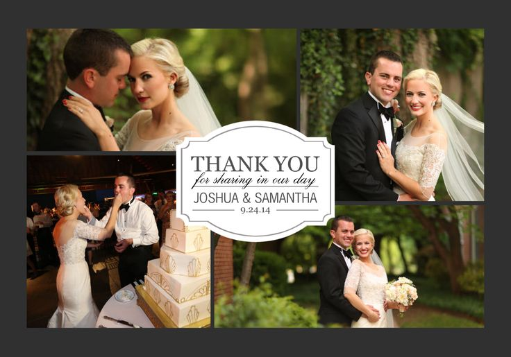 This is a great idea for wedding thank-you cards. A nice collage with the best pictures from the wedding.