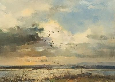 Errol Stephen Boyley - Geese Flying Over a Lagoon