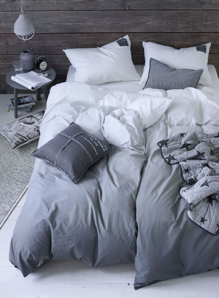 great bed linens in white and grey