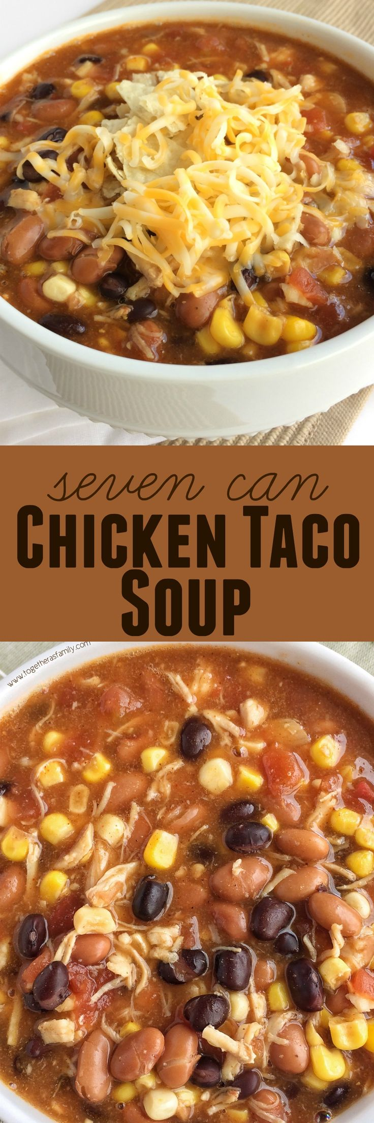 Dinner does not get any easier than this 7 can chicken taco soup! Dump 7 cans into a pot plus some seasonings and that's it! Serve with tortilla chips, cheese, and sour cream. You won't believe how yummy & easy it is.