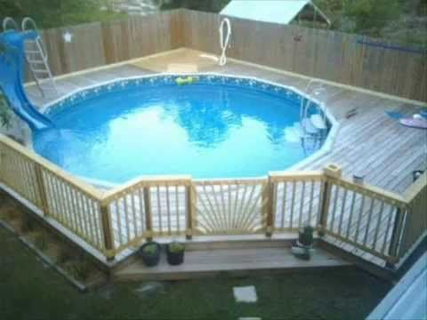 25 best ideas about portable swimming pools on pinterest for Above ground pool decks with lattice