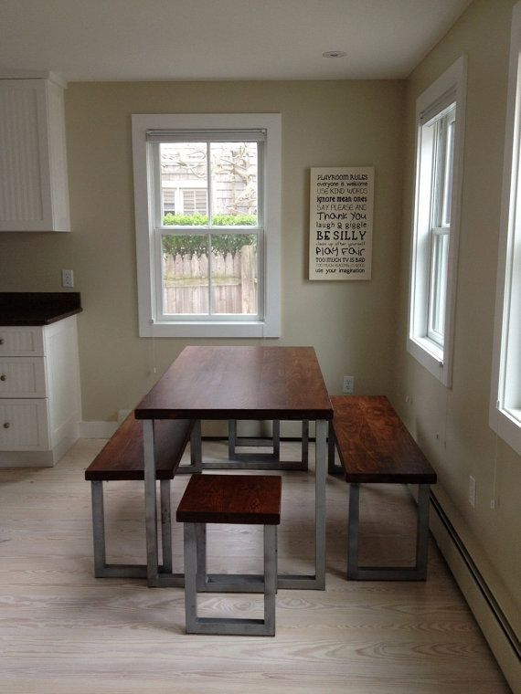 Wide Plank Hardwood Industrial Dining Set by BlueRidgeWoodworking, $1425.00they have a 20% of sale right now