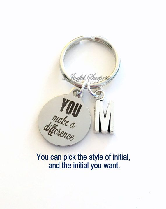 You make a Difference KeyChain Thank you Keyring Key chain Initial