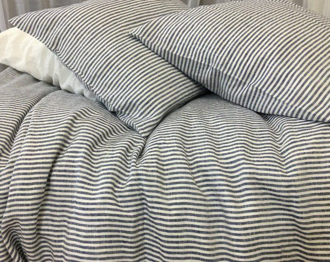Navy And White Ticking Stripe Duvet Cover Striped Linen Striped Duvet Covers Striped Bedding Striped Duvet