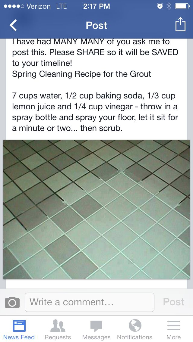 pulizia fughe pavimenti: 7 bicchieri acqua,1/2 bicchiere bicarbonato di sodio,1/3 di bicchiere di succo di limone,1/4 di aceto.in bottiglia spray.lasciare per qualche minuto #pulizia fughe