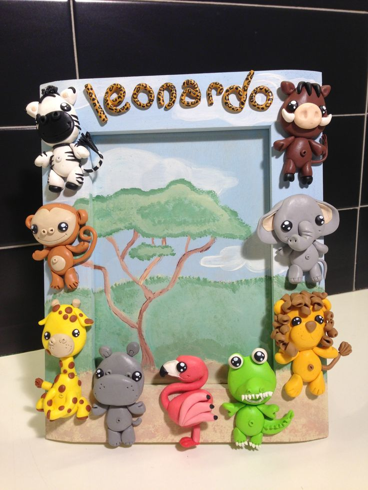 Cute Savannah frame - fimo decorated