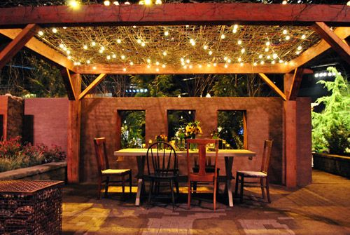 Outdoor patio: Lights Backyard, Outdoor Dining, Mismatched Chairs, Backyard Dreams, Outdoor Living, Outdoor Patio, Outdoor Lights Patio, String Lights, Outdoor Spaces