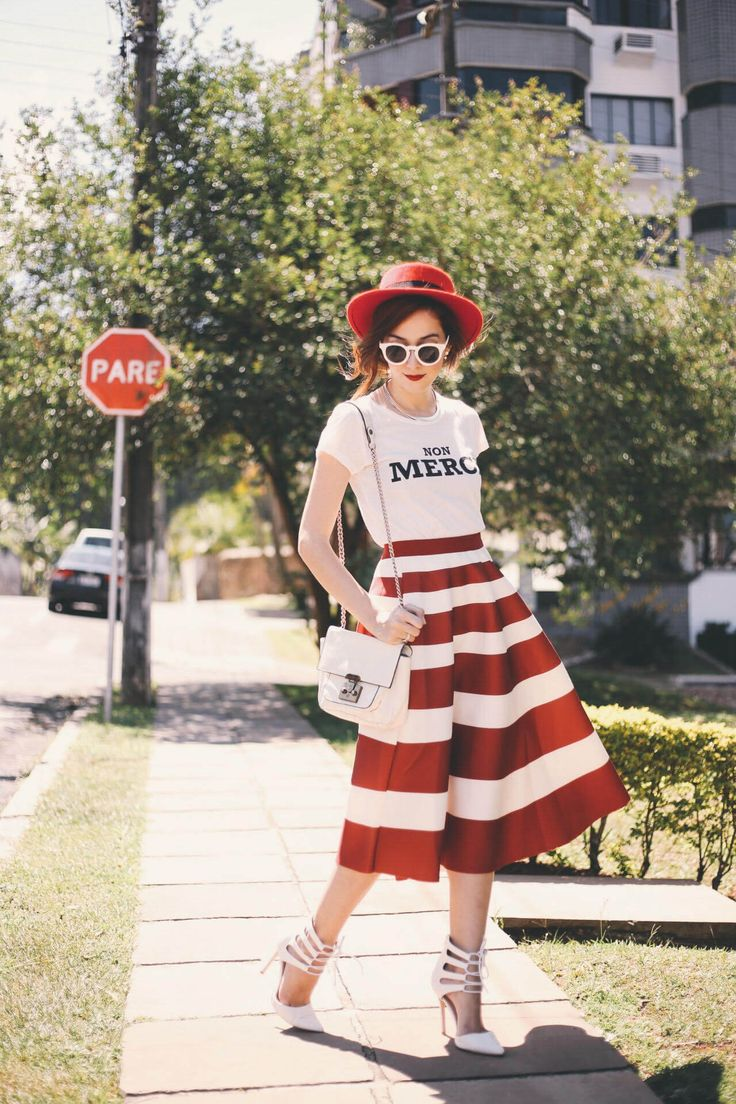 Spring time wearing a gorgeous red and white striped midi skirt. French inspired with tshirt, red hat, white sunglasses and high heels.
