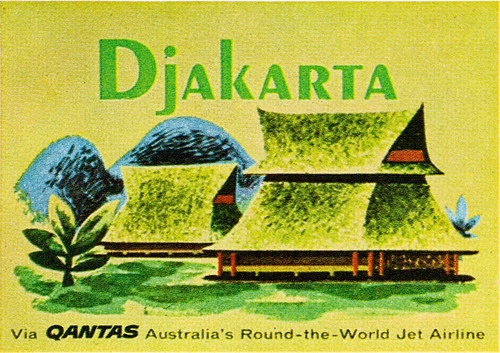 Djakarta Quantas ad - From Illustration Today textbook 1963. Sandi Vincent has displayed many gorgeous seldom seen posters on her Flickr stream. Please stop by them and leave her a special thank you note!!