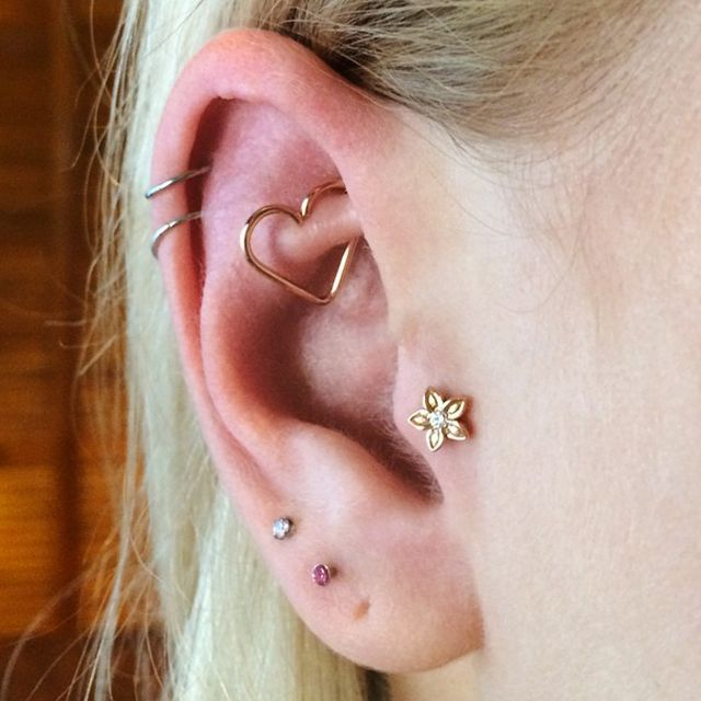"""The tragus is all about placement. Sometimes I like to do a double tragus, but you have to have enough room. It gets a little more irritated, so you have to know how to care for it."" #refinery29 http://www.refinery29.com/multiple-ear-piercing-ideas#slide-10"
