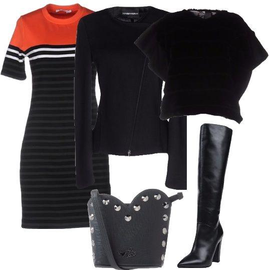 Un paio di stivali neri, alti, con tacchi che slanciano la tua figura, che puoi abbinare a: tubino corto, in jersey, a righe, con collo tondo, maniche corte, elasticizzato, giacca nera, in jersey, con zip, mantella, in pelliccia ecologica e borsa a tracolla in materiale sintetico.