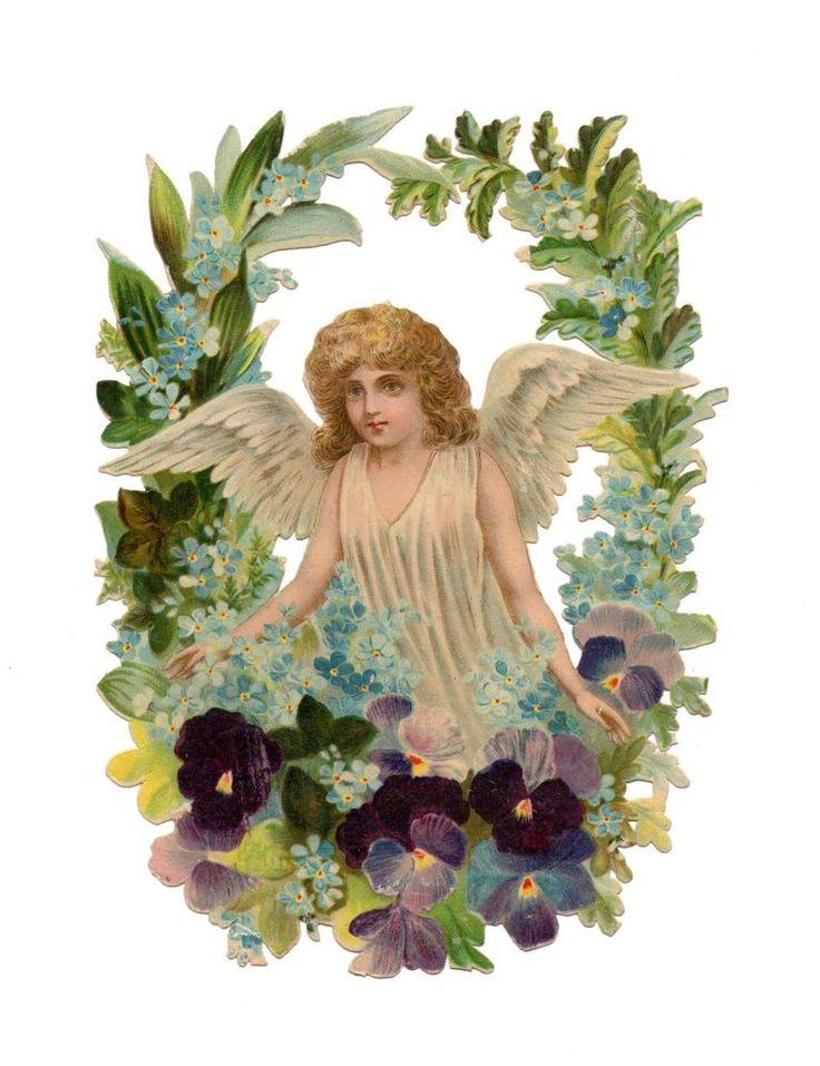 schöne alte Oblate  Scrap  Cuts  Chromos  - große Oblate - Engel  (81) Original