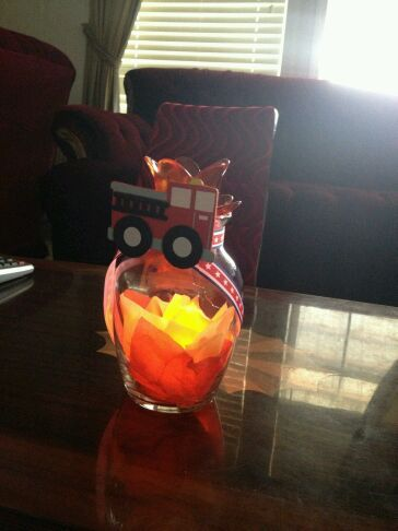 I made these flickering centerpieces for a annual fire meeting with the help of my friend Kim.