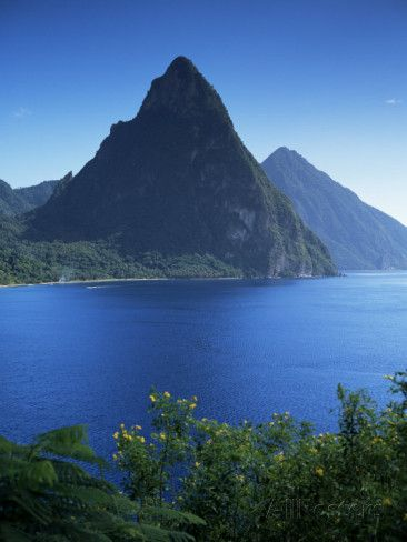 The Pitons, St. Lucia, Windward Islands, West Indies, Caribbean, Central America Photographic Print