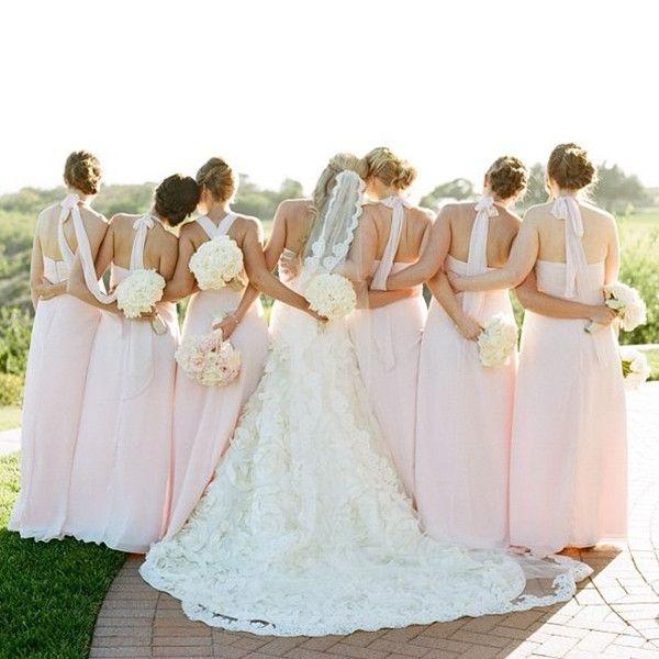 schicke und bezaubernde Hochzeitskleider für Brautjungfer 2014-2015 Blush pink Chiffon lange Abendkleider