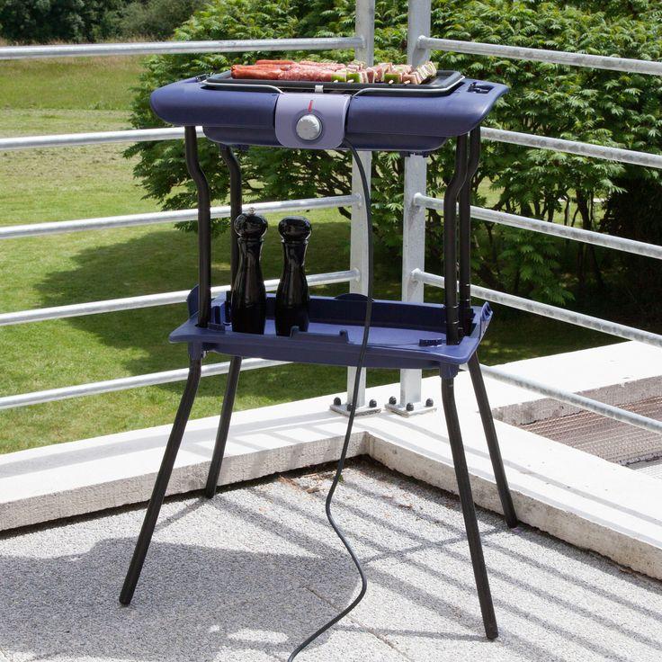 Barbecue valisette électrique sur pied cuisson contact 2300 watts CB223412 Simply Invents Bleu indigo