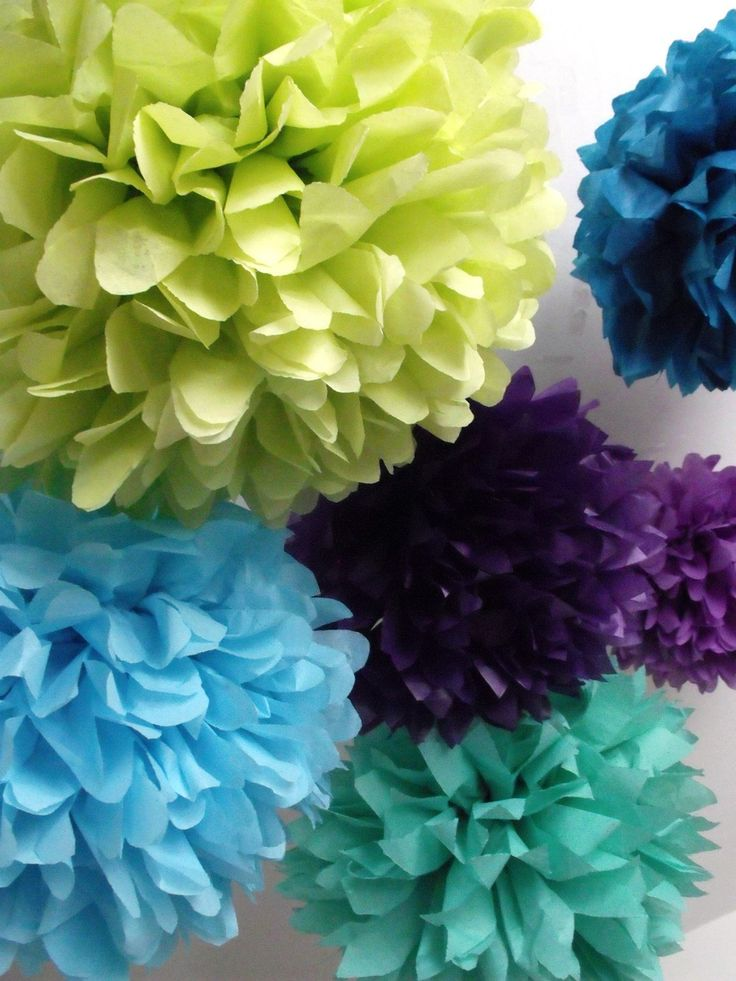"""Peacock wedding  40 Tissue paper pompoms  peacock party by pomtree These would look good in my """"Painty"""" shed :-)"""