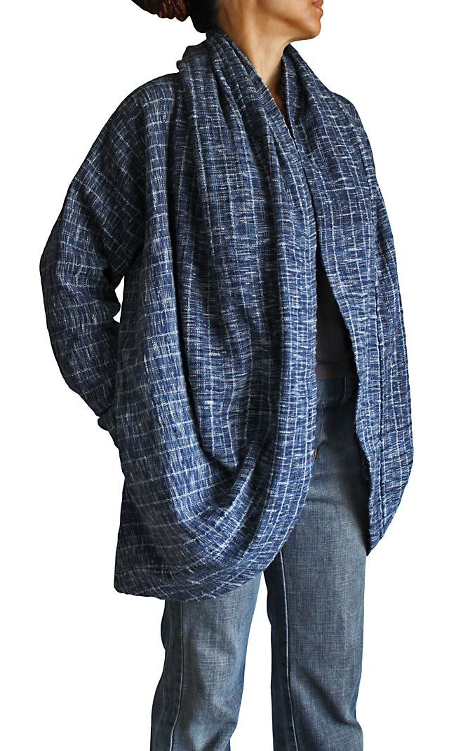 Tarpon twist design of hand-woven cotton coat pullover | Tucked up on its own sides, behind the neck
