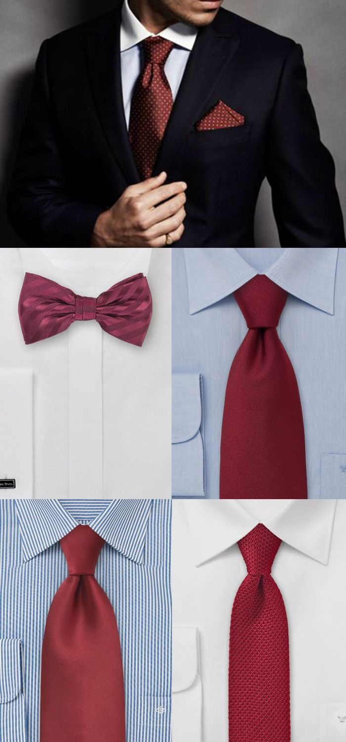 Ties in Cranberry Red for a Wedding Party.: