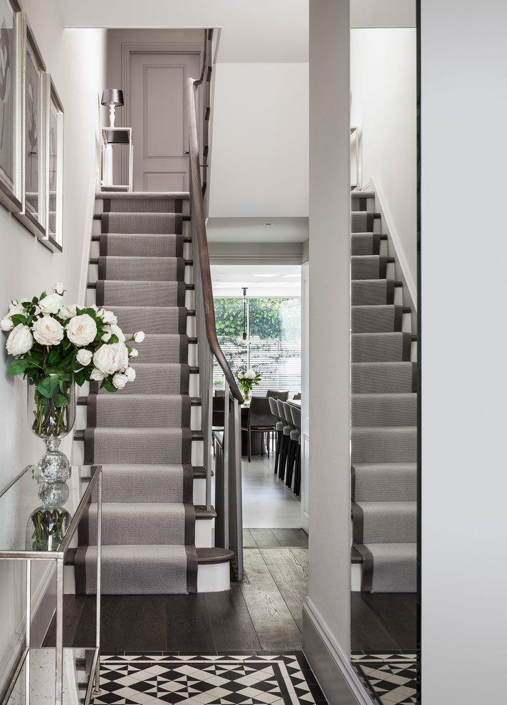 london carpet runner for with traditional artificial flowers staircase contemporary and framed wall art dark hardwood floor