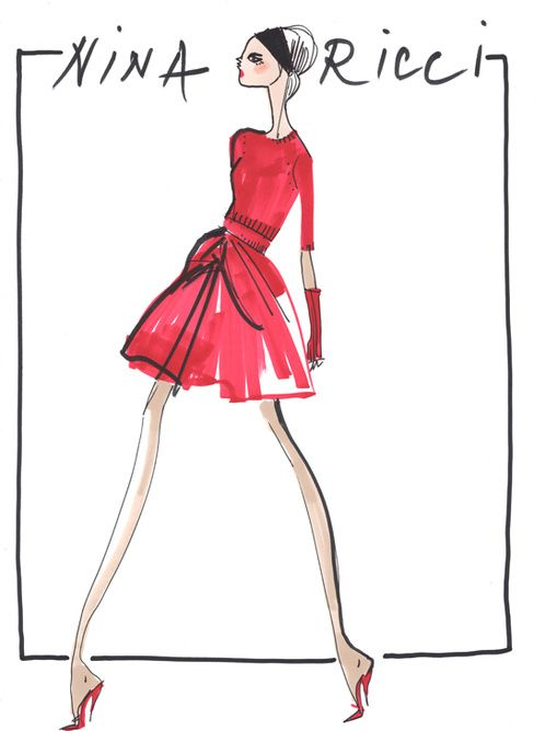Croquis de Peter Copping pour la collection Nina Ricci automne-hiver 2013-2014