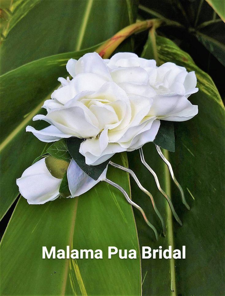 BRIDAL HAIR COMB, Ivory White Gardenia, Wedding Flowers, Hair Accessory, silk flower clip, Beach Wedding, Hair Accessory, Hawaiian Flowers by MalamaPuaBridal on Etsy