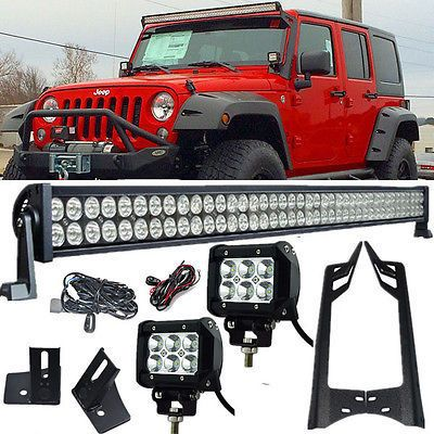 "Jeep JK Pack 3 07 - 2016 52"" light bar / 2 pods and all brackets - Leds4less"