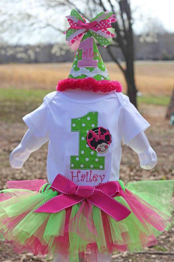 6 Piece set - Pink Ladybug Birthday Shirt or Onesie , Bib, Party Hat, Tutu, Bloomers and Hairbow via Etsy