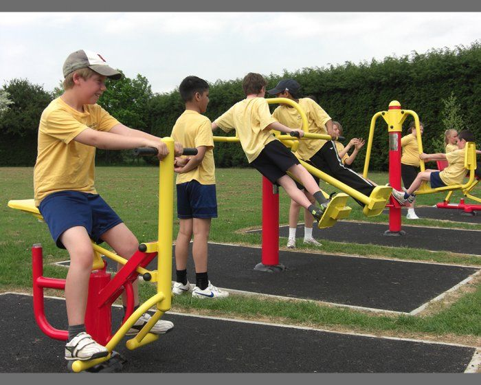 KIDS EXERCISE IDEAS : Outdoor gym equipment - kids love this! Take a bunch of friends to a park with outdoor gym equipment and let them loose. Set them mini challenges and let them get competitive. Work up a sweat!