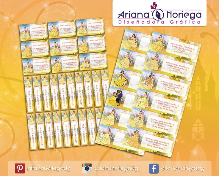 Kit Imprimible de #etiquetas personalizadas con el motivo #PrincesaBella. | 3 tamaños: 9 x 3,5 cm, 5 x 1 cm y 5 x 3 cm. |   Personalized and printable #labels pack - #PrincessBelle.  | 3 sizes: 9 x 3,5 cm, 5 x 1 cm and 5 x 3 cm. |   Tienda/Shop: https://www.etsy.com/es/shop/ArianaDesignStore