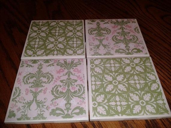 Pink & Green Damask Coaster Set