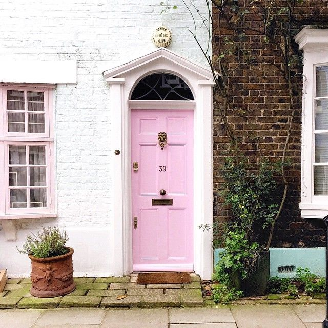 Pink door in London.