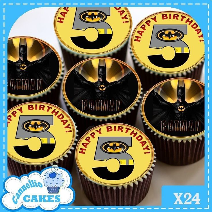 5TH BIRTHDAY BATMAN  24 x CUPCAKES EDIBLE PREMIUM RICE PAPER CC0180