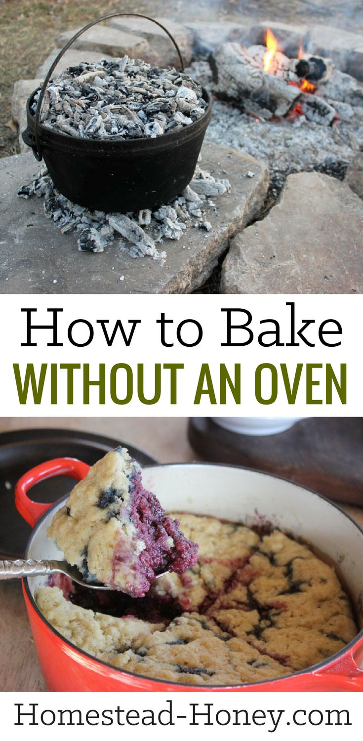 Whether you live off-grid, are camping, or just don't want to bake indoors in the heat of summer, knowing how to bake without an oven is a valuable skill. Learn a few creative ways to bake without an oven, such as Stovetop Bakes and Dutch ovens! | Homestead Honey