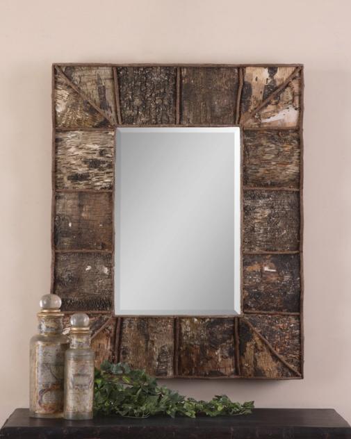 Birch bark and twig rustic mirror um b