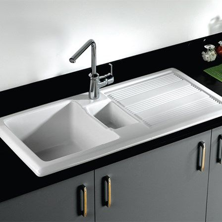 rak 1000 gourmet 15 bowl white ceramic kitchen sink waste kit with reversible drainer 1010 x 510mm. Interior Design Ideas. Home Design Ideas