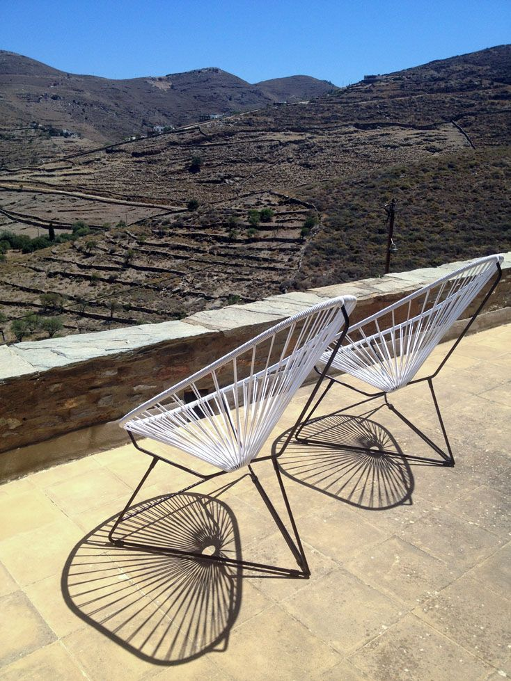 our Acapulco chairs in a vacation house on Cyclades