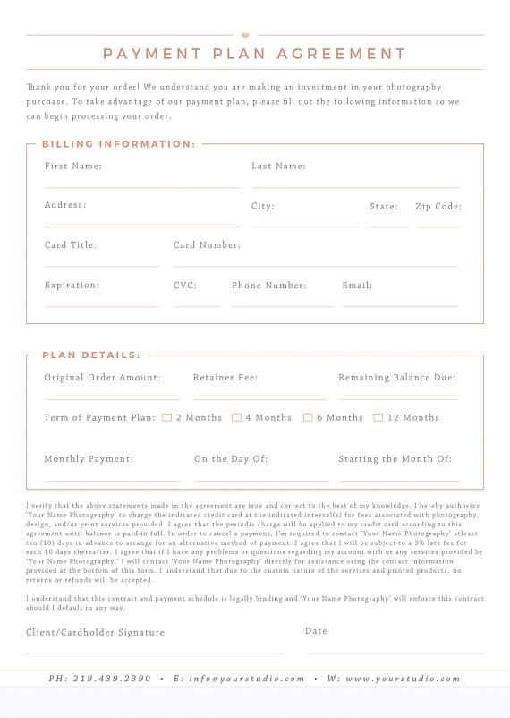 Photography Payment Plan Form Template  Business Forms For