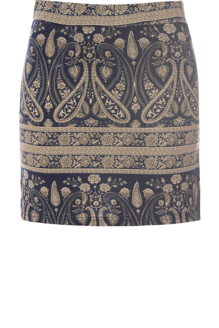 Navy Paisley Printed Jersey Tube Skirt  on Glamorous