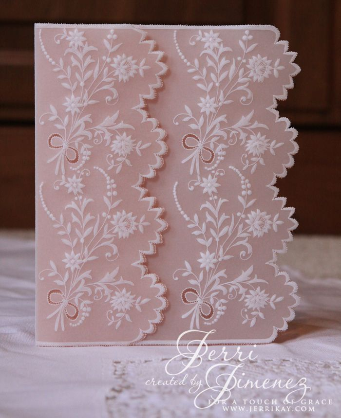 A Julie Roces Pattern I've worked, more pics are available on my blog: http://jerrikay.blogs.splitcoaststampers.com/2016/01/24/lace-white-work-card/