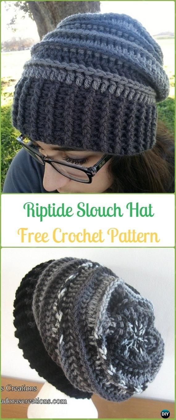 Crochet Riptide Slouch Hat Free Patterns -Crochet Slouchy Beanie Hat Free Patterns #CrochetBeanie