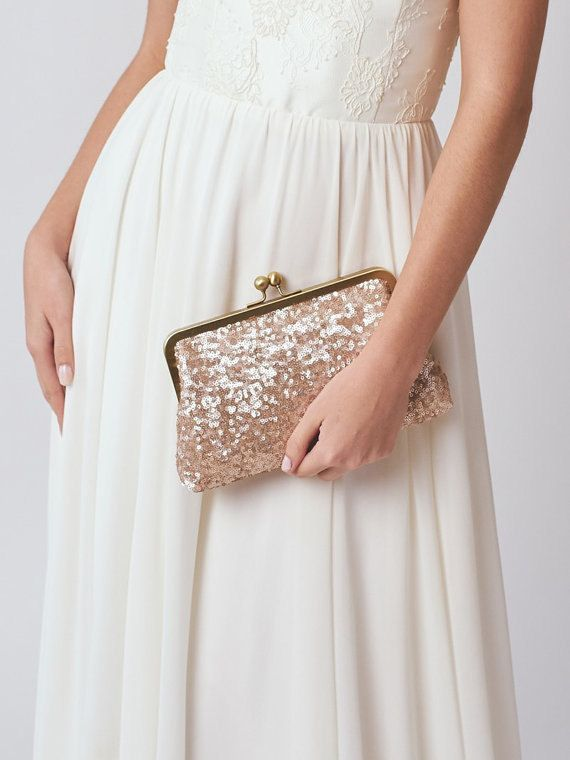 Rose Gold Sequin Bridesmaid Clutch | Blush Wedding Purse | Personalized…