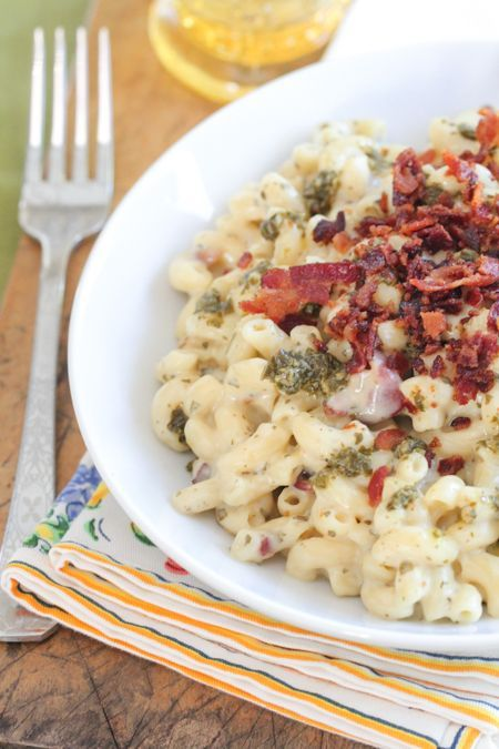 Bacon Pesto Mac and Cheese!  Simple and oh so cheesy :)