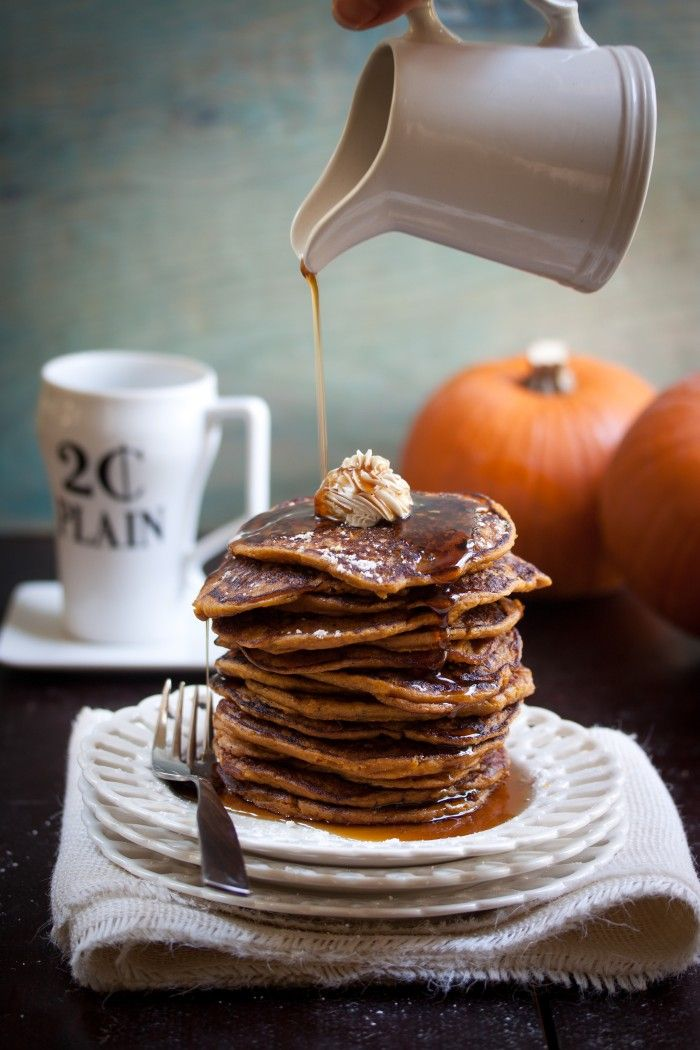 Vegan and gluten-free pumpkin maple pancakes.