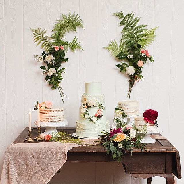Tropical vibes with this pretty #cake table as seen #onGWS today  See more from this wedding with the link in our profile thanks to  photos: @jesskettle // design & planning: @amorology // florals: @twiggbotanicals // paper goods: @peanut_press // desserts: @sweetlydiasofsd @donutbar // rentals: @archiverentals #wedding #weddingideas #caketable